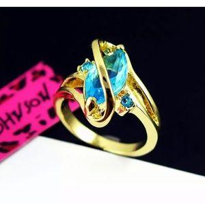 Betsey Johnson Women Aquamarine Fashion Ring. Sz8